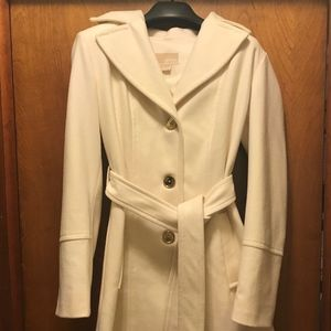 Michael Kors Ivory Hooded Wool Coat